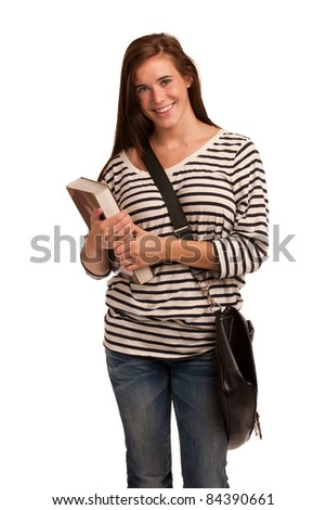 Casual Dressed High School Student Smiling on Isolated Background