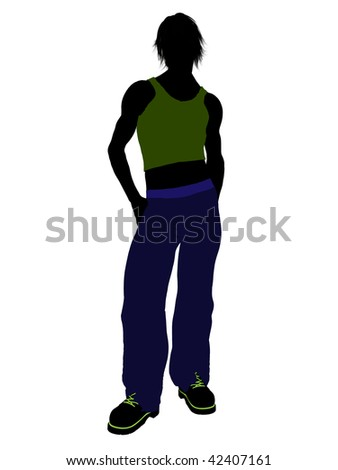 Casual dressed male silhouette on a white background
