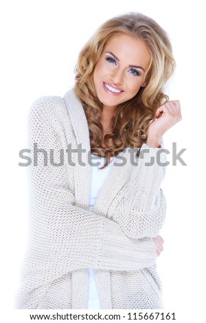 Casual dressed sexy woman with beautiful smile isolated - stock photo