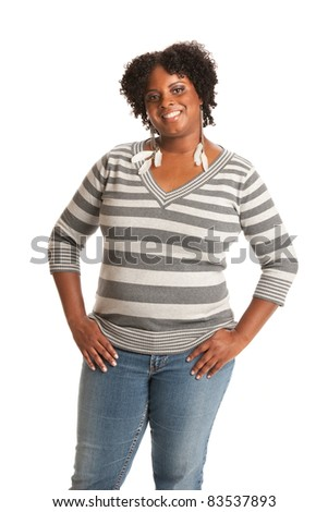 Casual Dressed Young African American Woman Standing Portrait on White - stock photo