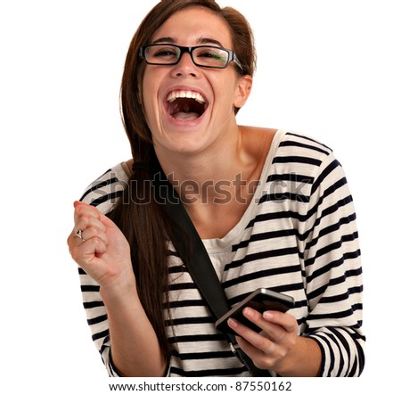 Casual Dressed Young Student Texting Laughing on Cell Phone Isolated on White Background