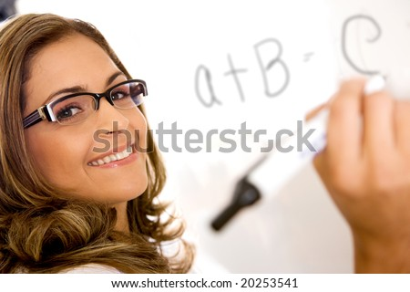 casual education teacher or student writing on a white board