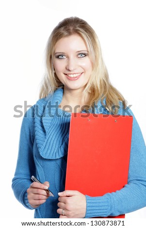 Casual employee holding a ball pen and red folder