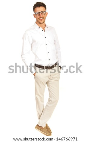 Casual executive man with eye glasses isolated on white background - stock photo