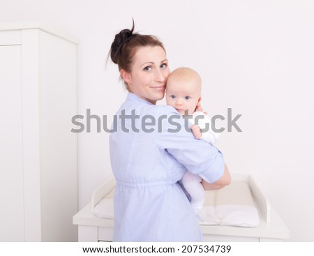 casual family mother with child - stock photo