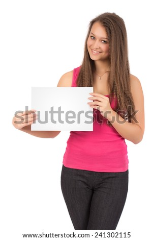 Casual Female In Pink Shirt Holding a Blank Sheet Of Paper Isolated on White Background