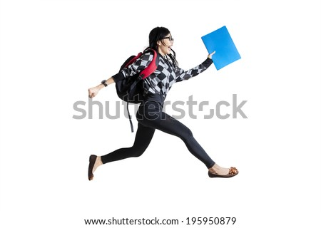 Casual female student running. isolated on white background - stock photo