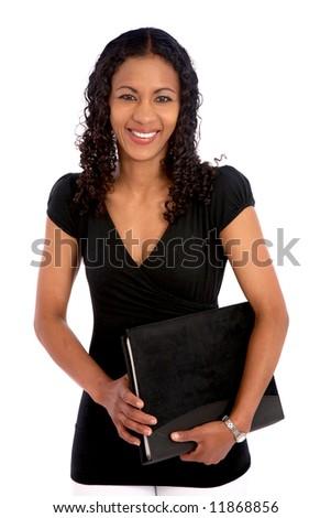 casual female student smiling and holding a notebook - isolated over a white background - stock photo
