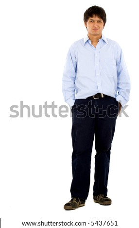Casual friendly man in blue standing – isolated over a white background