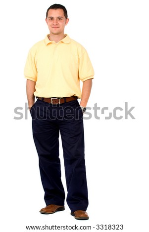 Casual friendly man in yellow and blue standing – isolated over a white background - stock photo