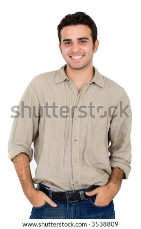 Casual friendly man portrait - isolated over a white background
