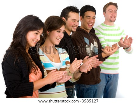 casual friends applauding over a white background - stock photo