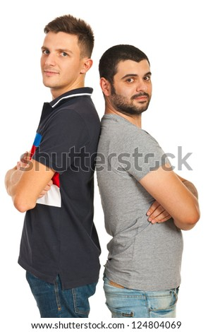 Casual friends men standing back to back with arms folded isolated on white background - stock photo