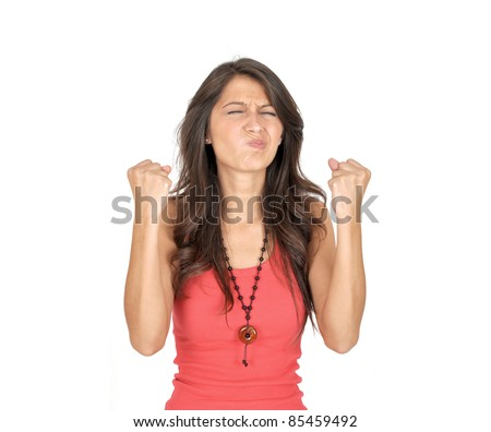 casual girl angry a over white background - stock photo