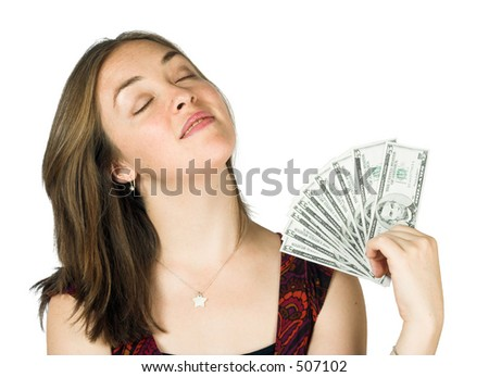 casual girl happy with her money