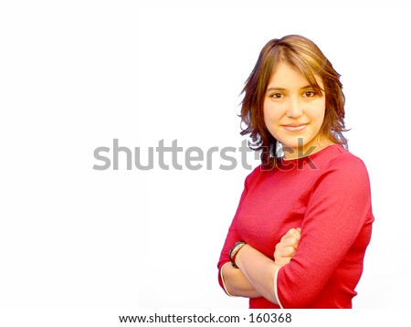Casual Girl in red with arms crossed