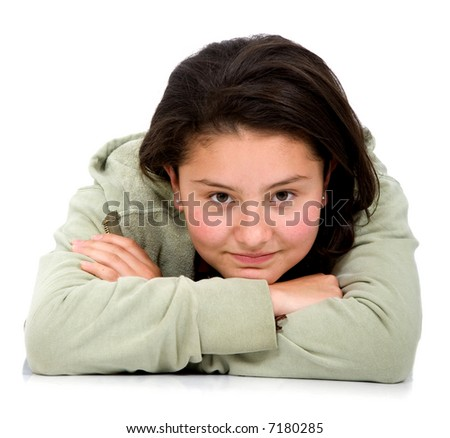 Casual girl portrait on the floor isolated over a white background - stock photo