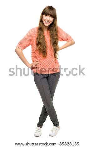 Casual girl standing - stock photo