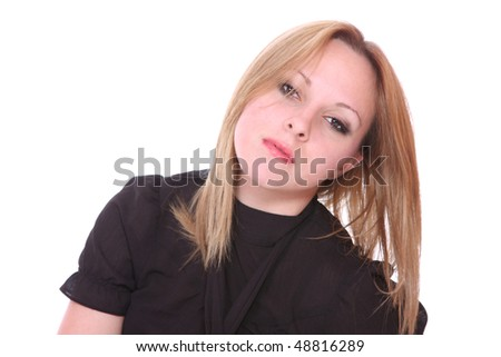casual girl standing up over a white background