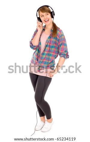 Casual girl wearing headphones - stock photo