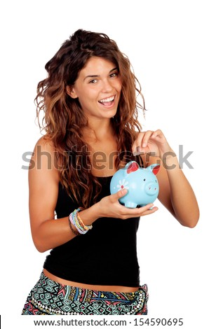 Casual girl with a blue piggy-bank isolated on a white background