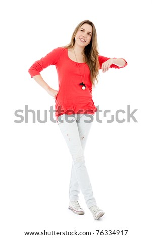 Casual girl with arm on something imaginary - isolated over a white background
