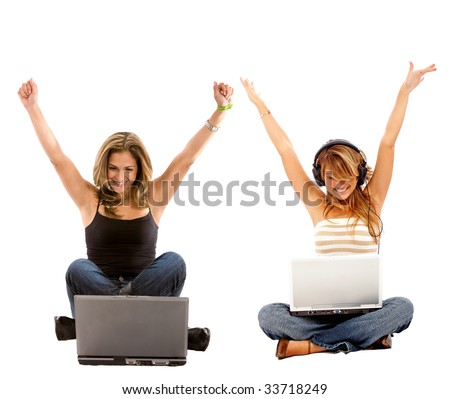 Casual girls on a laptop enjoying their success, isolated