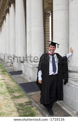 casual graduate - columns 1 - stock photo