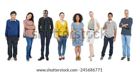 Casual Group Diverse People Social Variation Row Concept