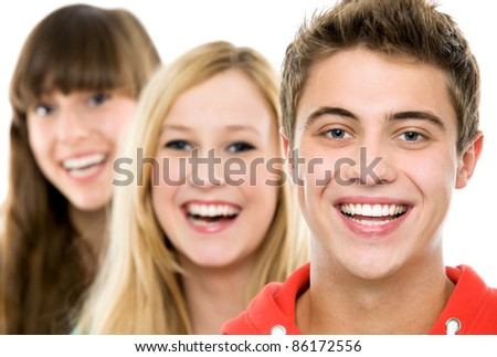 Casual group in a row - stock photo