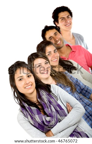 Casual group in a row isolated over a white background - stock photo