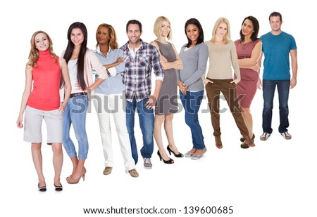 Casual group of Casual group of people standing isolated over white background