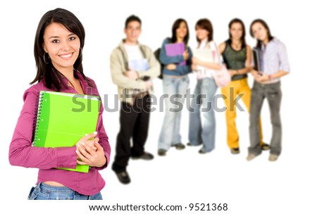 Casual group of college students smiling - isolated over a white background - stock photo