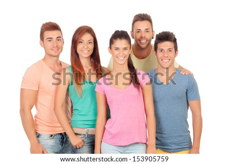 Casual group of friends isolated on white background - stock photo