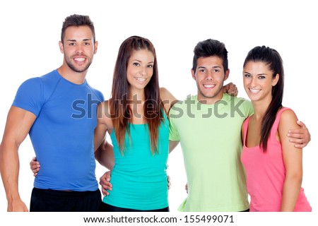 Casual group of friends isolated on white background