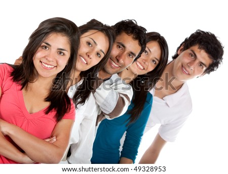 Casual group of friends isolated over a white background