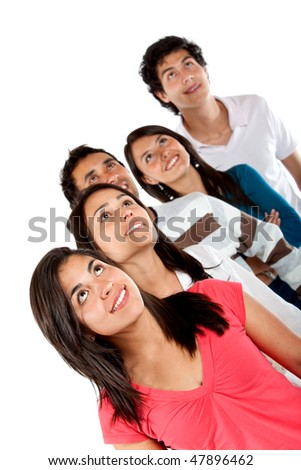 Casual group of friends looking up isolated over a white background - stock photo
