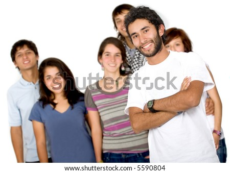 Casual group of friends smiling with a guy leading - isolated over a white background - stock photo