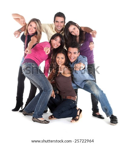 casual group of happy people isolated over white