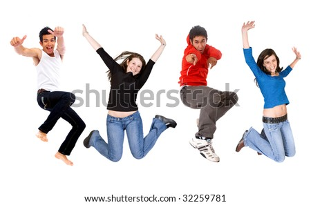 casual group of happy young people jumping isolated over a white background - stock photo
