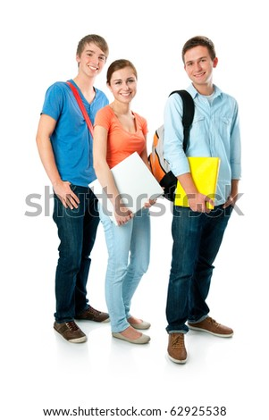 Casual group of high school students smiling - stock photo