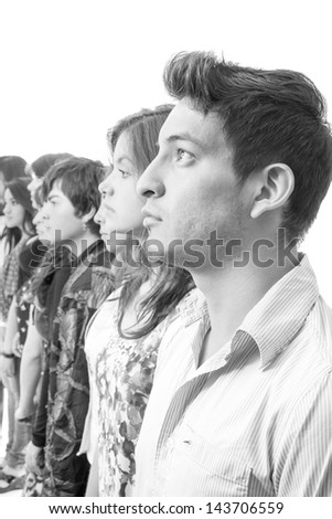Casual group of hispanic latin people serious - stock photo