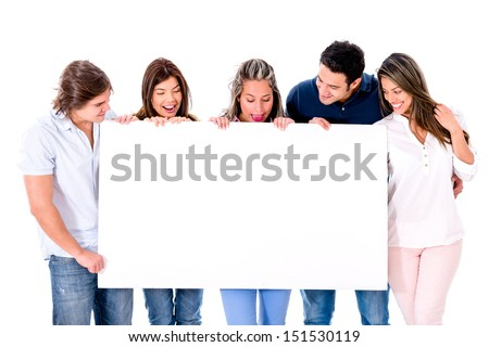 Casual group of people holding a banner - isolated over white
