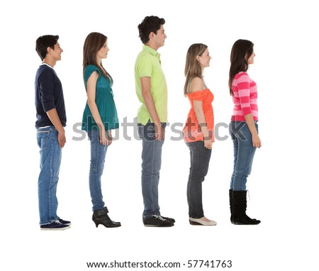 Casual group of people in a row - isolated over a white background - stock photo