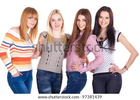Casual Group of people isolated on white - stock photo
