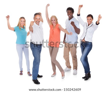 Casual Group Of People Raising Arm Over White Background