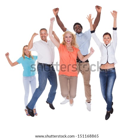 Casual Group Of People Raising Arm Over White Background - stock photo