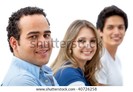 Casual group of people smiling isolated on white