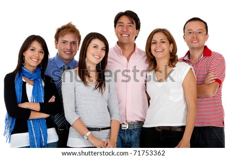 Casual group of people smiling - isolated over a white background - stock photo