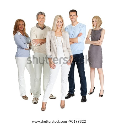 Casual group of people standing isolated over white background - stock photo